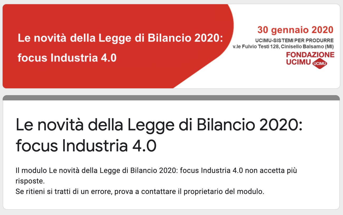 Le novità della Legge di Bilancio 2020: focus Industria 4.0