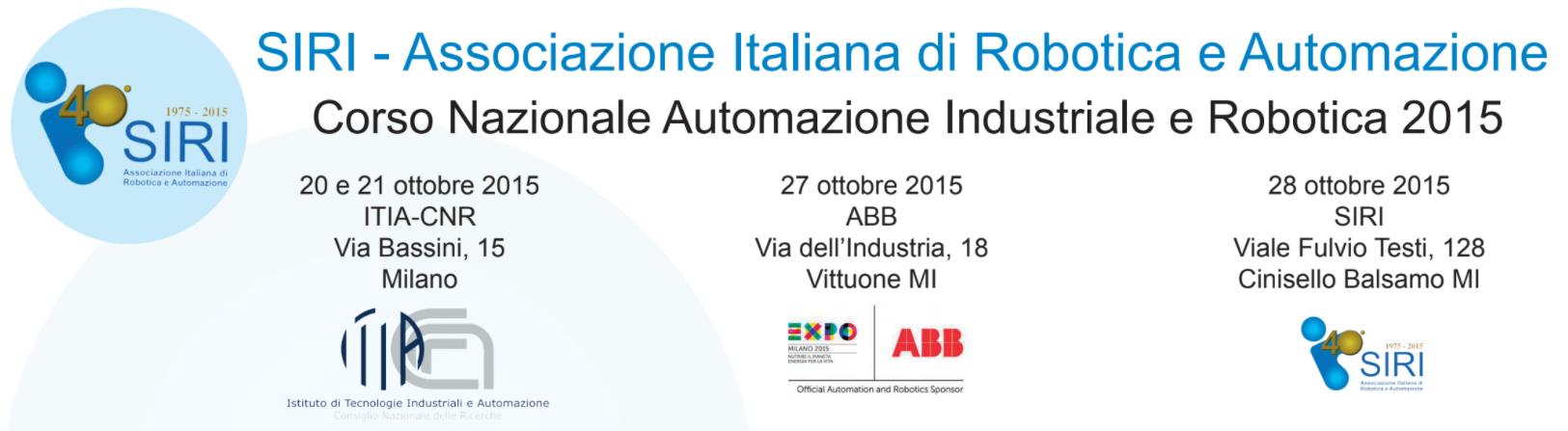 Corso Nazionale Automazione Industriale e Robotica 2015