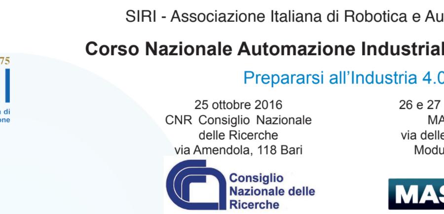 Corso Nazionale Automazione Industriale e Robotica 2016