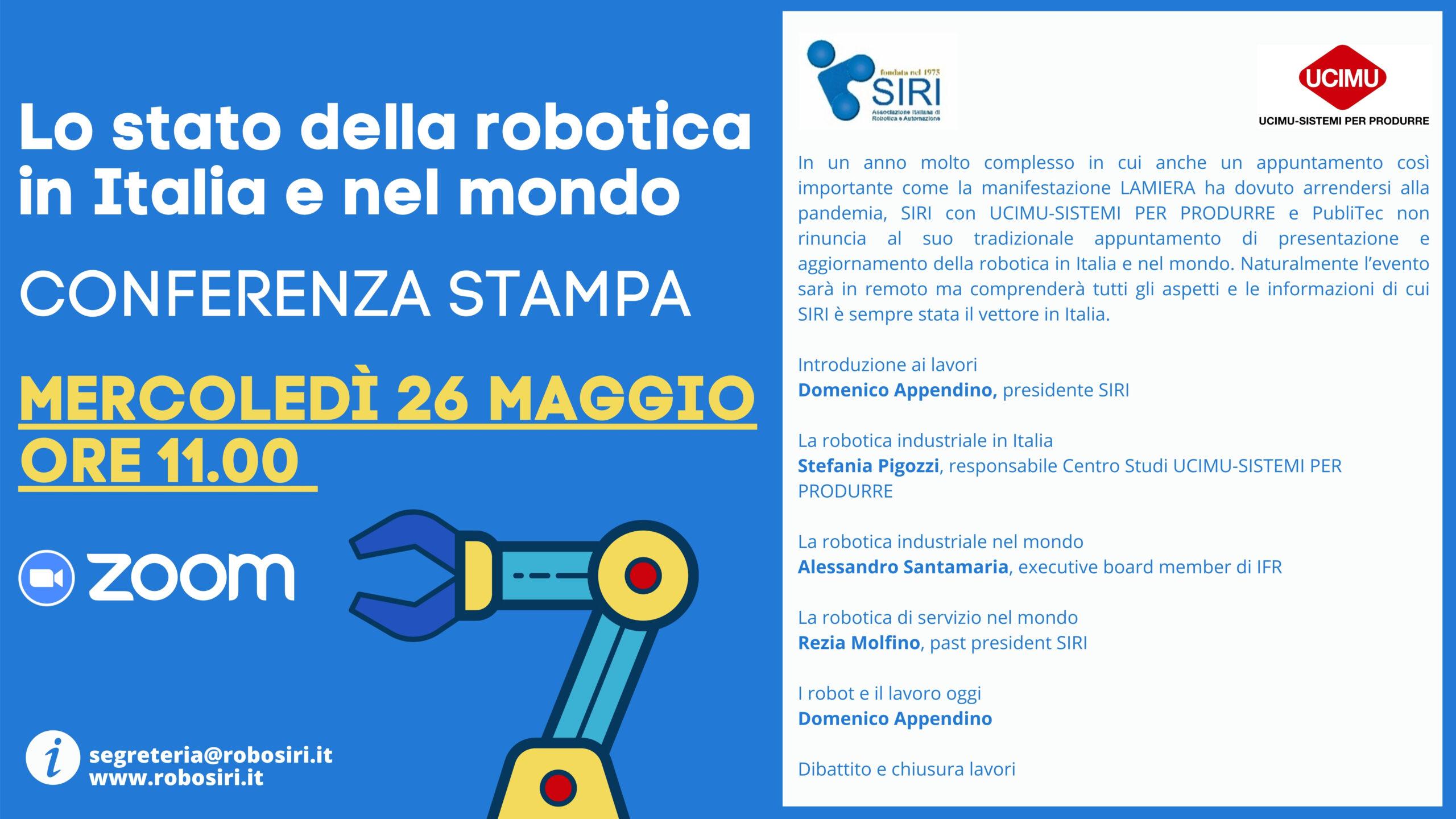 Lo stato della robotica in Italia e nel mondo, 26 maggio 2021, disponibili le presentazioni